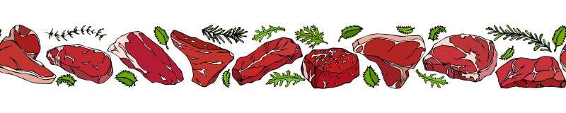 Лента популярных типов стейка Меню ресторана стейкхауса иллюстратор иллюстрации руки чертежа угля щетки нарисованный как взгляд д Стоковые Изображения RF