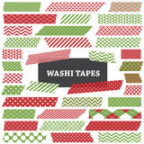 Лента рождества красная и зеленая Washi обнажает искусство зажима Стоковое Фото
