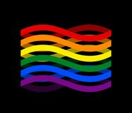 Лента флага LGBTQ+ Лента символа гордости LGBT Гомосексуалист Rainbo иллюстрация штока