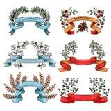 Ленты вектора винтажные с цветками и ветвями бесплатная иллюстрация