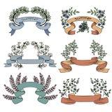 Ленты вектора винтажные с цветками и ветвями иллюстрация вектора