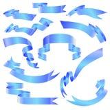 Ленты знамени установленные голубые на белой предпосылке Стоковое Изображение RF