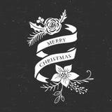 Ленты и букеты приветствию рождества мела декоративные бесплатная иллюстрация