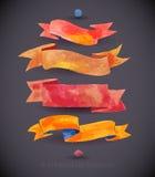 Ленты и знамена акварелей для текста Собрание элементов дизайна акварели Стоковая Фотография RF