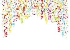 Ленты и Confetti предпосылки горизонтальные иллюстрация вектора