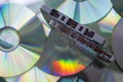 Ленты магнитофонной кассеты и диски КОМПАКТНОГО ДИСКА Стоковое Изображение