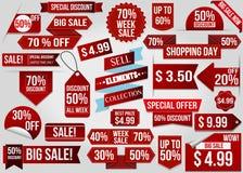 Ленты скидки продажи красные бесплатная иллюстрация