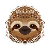 лень Голова, сторона, портрет Бежевое мех Тип шаржа Животные улыбки иллюстрация штока