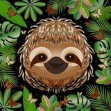 лень Голова, сторона, портрет Бежевое мех Тип шаржа Животные улыбки Рамка листьев джунглей иллюстрация штока