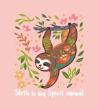 Лень мое животное духа Милый характер медведя лени вектора животный вися на дереве r иллюстрация штока