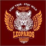 Леопарды - таможня едет на автомобиле логотип вектора футболки клуба на темной предпосылке Наградная качественная футболка логоти бесплатная иллюстрация