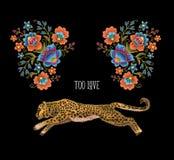 Леопард с цветками Заплаты вышивки вектора для дизайна ткани Стоковое Изображение RF