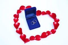Лепестки красной розы цветут в форме сердца с обручальными кольцами пар на белой предпосылке Стоковые Фотографии RF