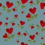 Лепестки розы сердца безшовной картины красные Стоковая Фотография RF