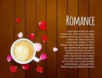 Лепестки роз на деревянной предпосылке с космосом чашки кофе и экземпляра Принципиальная схема влюбленности дня Валентайн Стоковое Изображение