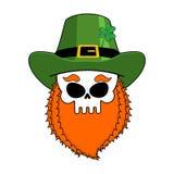 Лепрекон черепа с красной бородой Зеленая ирландская крышка ` S St. Patrick Стоковые Изображения RF