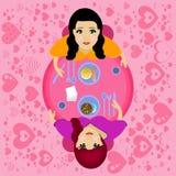 Лесбосская лесбиянка отношения пар иллюстрация штока