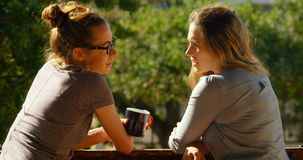 Лесбосские пары взаимодействуя друг с другом в балконе дома 4k акции видеоматериалы