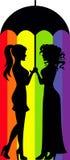 Лесбосские пары под зонтиком бесплатная иллюстрация