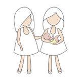 Лесбосские пары с младенцем Стоковое Изображение
