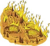Лесной пожар вершины холма иллюстрация штока