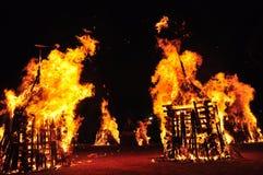 Лесной пожар в ноче стоковое изображение rf