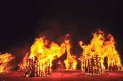 Лесной пожар в ноче стоковая фотография