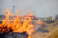 Лесной пожар и пожарная машина вне города стоковая фотография