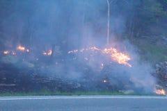 Лесной пожар на горе Catawba стоковое изображение