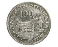 Лесохозяйство 100 рупий для монетки процветания, 1970~1978 - вторая серия, банк Индонезии стоковое фото rf