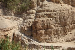 Лестница в утесе в оазисе Ein Gedi стоковые фото