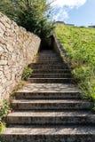 Лестница гранита каменная в парке Шаги идя долгий путь вверх в тоннель стоковые фотографии rf