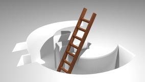 Лестница, который нужно прийти вне от евро Стоковая Фотография RF