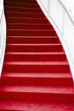 лестница красного цвета ковра Стоковые Фотографии RF