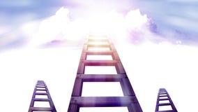 Лестница к небу с белым облаком стоковые изображения