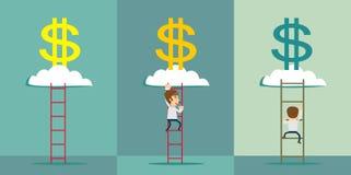 лестница к облаку денег также вектор иллюстрации притяжки corel Бесплатная Иллюстрация
