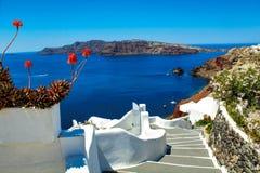 Лестница к раю - Santorini стоковые изображения