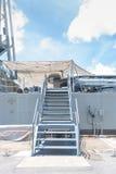 Лестница на борту военного корабля Стоковое Фото