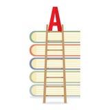Лестница полагается на книгах к концепции образования повышенного уровня Стоковое фото RF