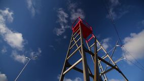 Лестница против голубого неба и облаков сток-видео