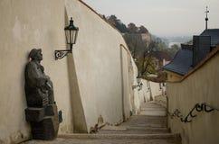 Лестница с статуей Стоковое Фото