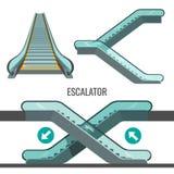 Лестница эскалатора moving при стрелки показывая путь движения Стоковые Фотографии RF