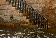 Лестница для того чтобы намочить канал с поручнями Стоковая Фотография