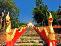 Лестница Naga на тайском виске Стоковая Фотография