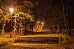 Лестницы в парке в ноче Стоковое Изображение