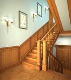 лестницы дома самомоднейшие деревянные Стоковые Фотографии RF