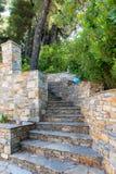 Лестницы естественный каменный водить в древесины Стоковая Фотография RF