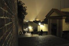 Лестницы замка на ноче стоковые фотографии rf