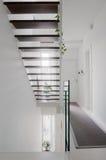 Лестницы залы дома и стеклянная балюстрада Стоковые Изображения