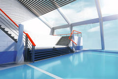 Лестницы и панорамные окна Стоковые Фотографии RF